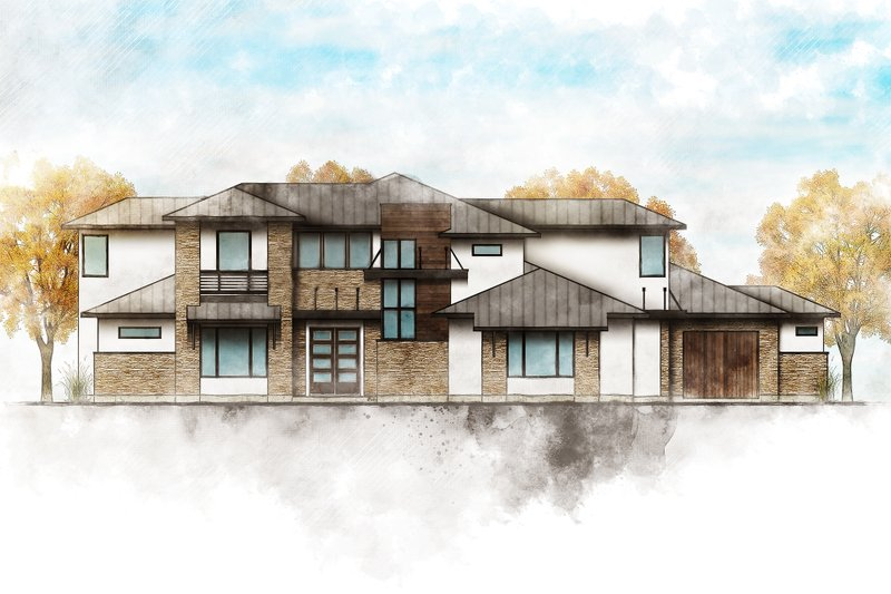 Home Plan - Contemporary Exterior - Front Elevation Plan #80-217