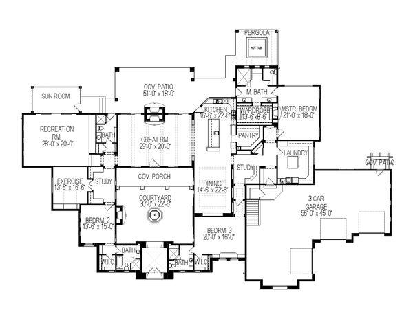 House Plan Design - Mediterranean Floor Plan - Main Floor Plan #920-88