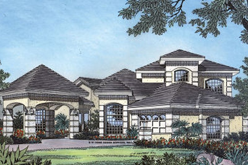 Dream House Plan - Mediterranean Exterior - Front Elevation Plan #417-346