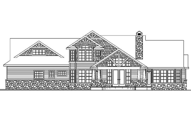 Craftsman Exterior - Rear Elevation Plan #124-582 - Houseplans.com