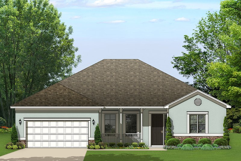 Ranch Exterior - Front Elevation Plan #1058-161