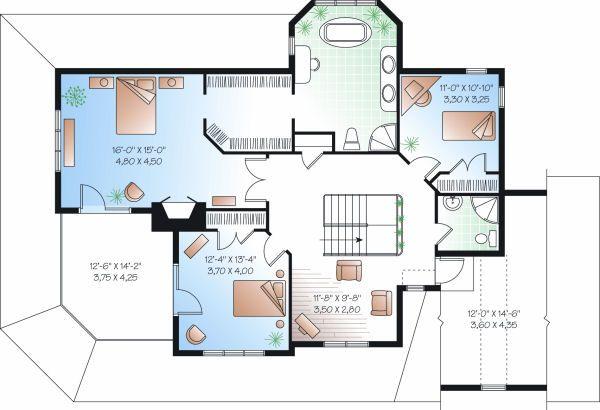 Traditional Floor Plan - Upper Floor Plan Plan #23-871