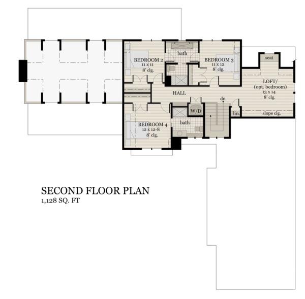 Farmhouse Floor Plan - Upper Floor Plan #51-1145