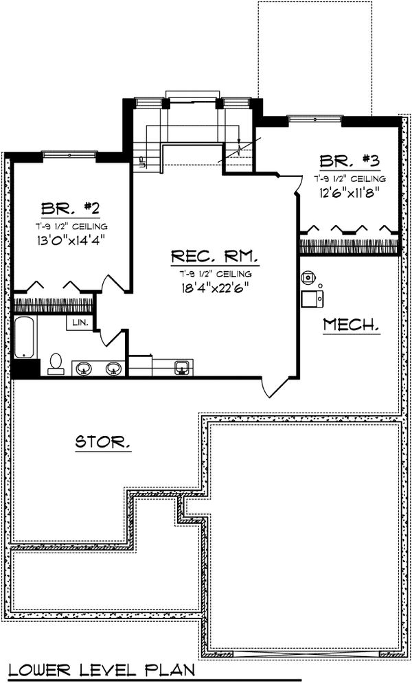 Floor Plan - Lower Floor Plan Plan #70-1105