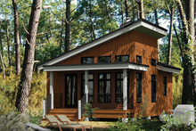 Cabin Exterior - Front Elevation Plan #25-4286