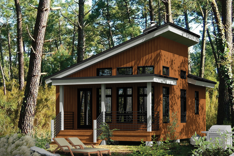 Cabin Style House Plan - 1 Beds 1 Baths 480 Sq/Ft Plan #25-4286