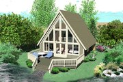Contemporary Style House Plan - 1 Beds 1 Baths 734 Sq/Ft Plan #81-13762 Exterior - Front Elevation