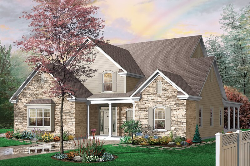 House Plan Design - Front View - 3000 square foot Traditional home