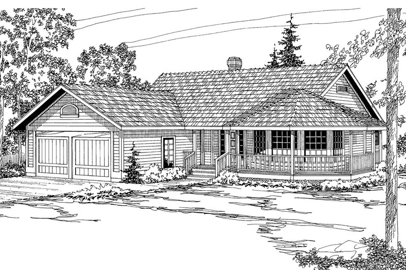 Traditional Style House Plan - 3 Beds 2 Baths 1932 Sq/Ft Plan #124-154 Exterior - Front Elevation