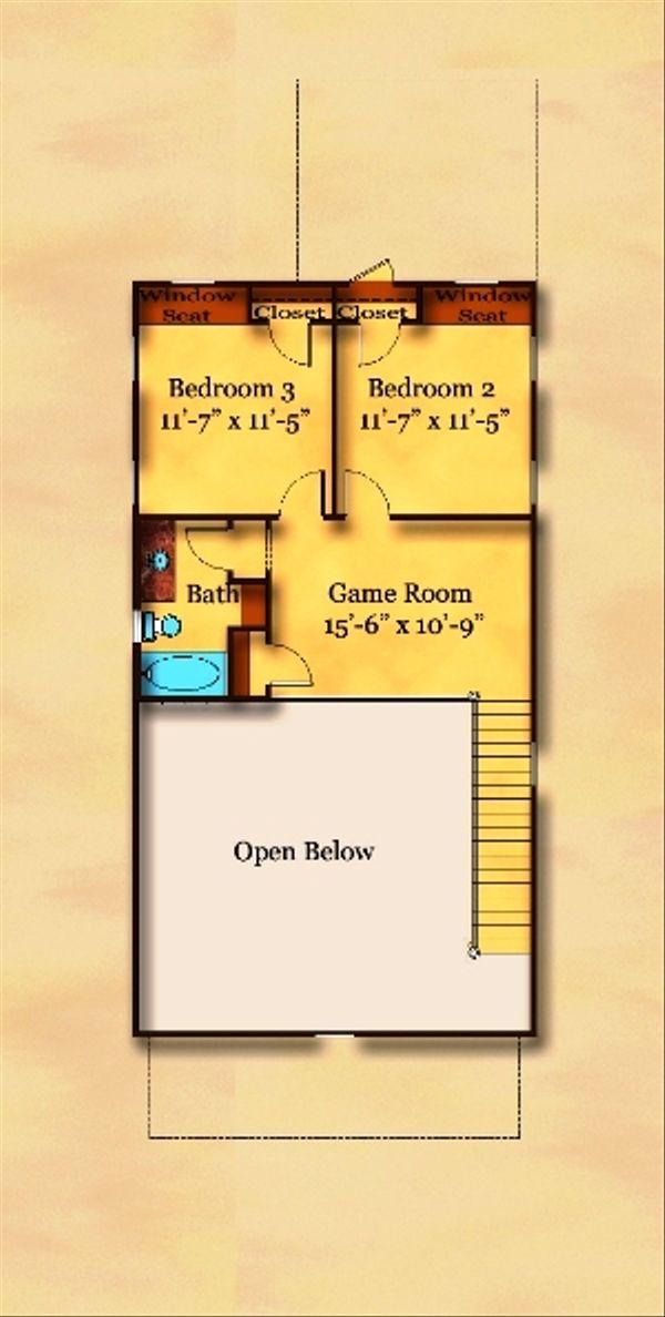 Traditional Floor Plan - Upper Floor Plan Plan #442-5