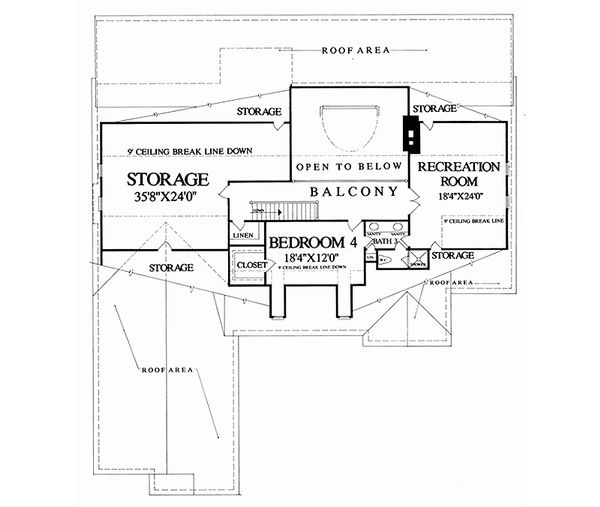 Country Floor Plan - Upper Floor Plan #137-279