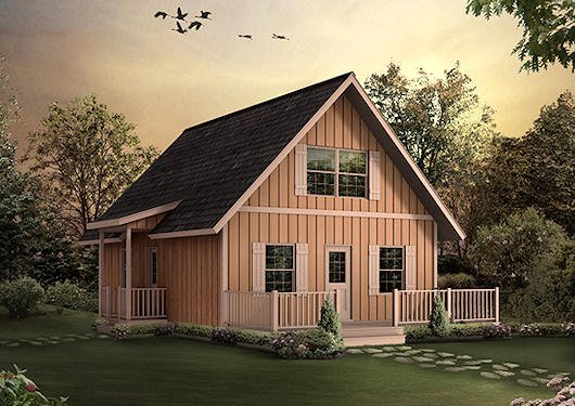 Cottage Exterior - Front Elevation Plan #57-240