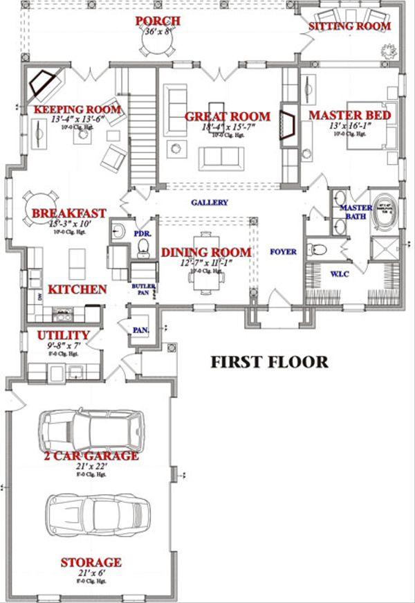 European Floor Plan - Main Floor Plan Plan #63-229