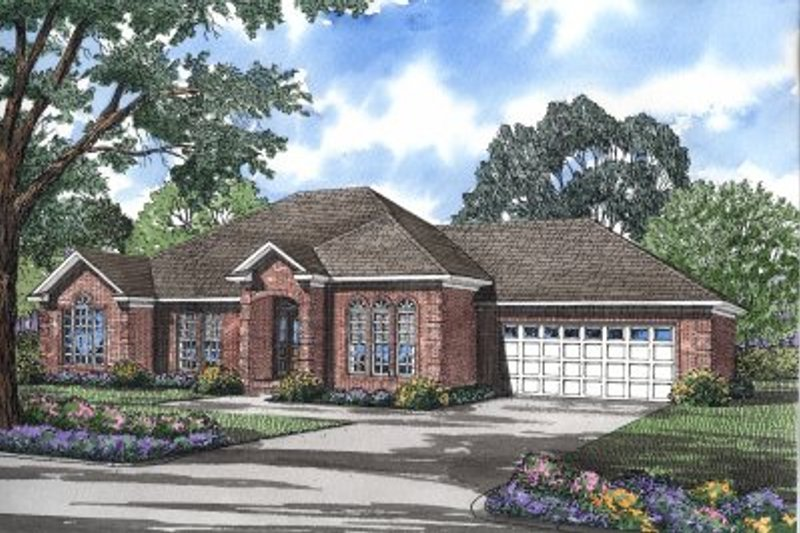 European Style House Plan - 3 Beds 2 Baths 1994 Sq/Ft Plan #17-1043 Exterior - Front Elevation