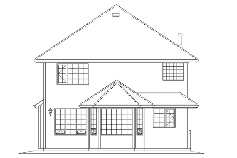 Traditional Exterior - Rear Elevation Plan #18-283 - Houseplans.com
