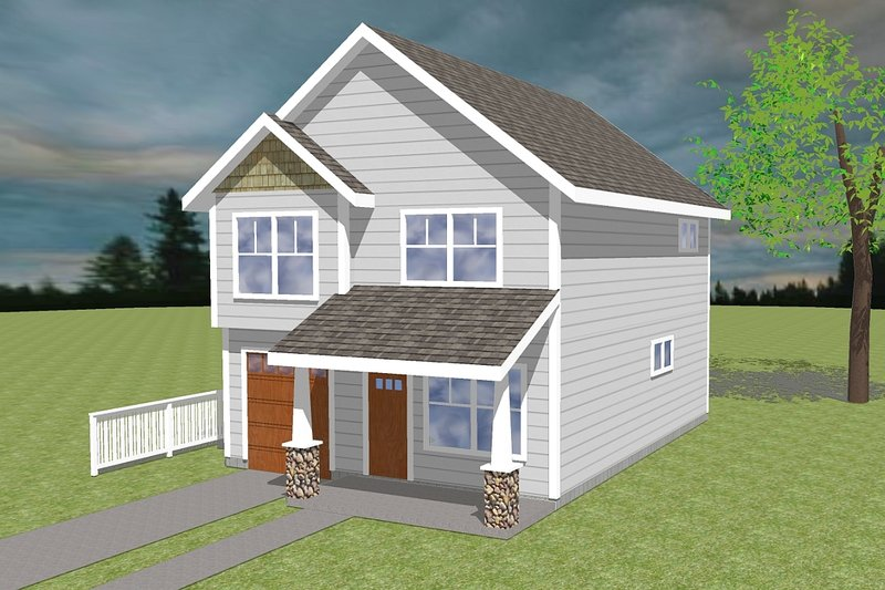 Traditional Style House Plan - 3 Beds 2.5 Baths 1357 Sq/Ft Plan #423-5 Exterior - Front Elevation