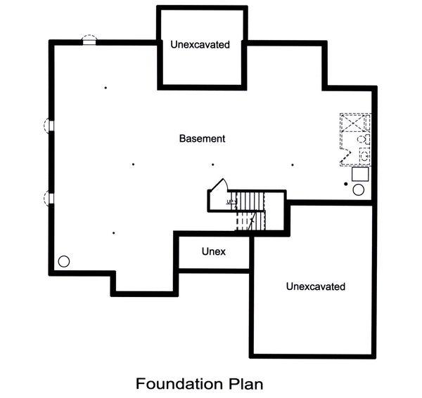 Architectural House Design - Unfinished Basement Foundation