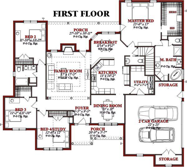 European Floor Plan - Main Floor Plan Plan #63-187