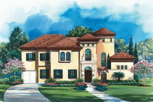 Mediterranean Exterior - Front Elevation Plan #20-1732