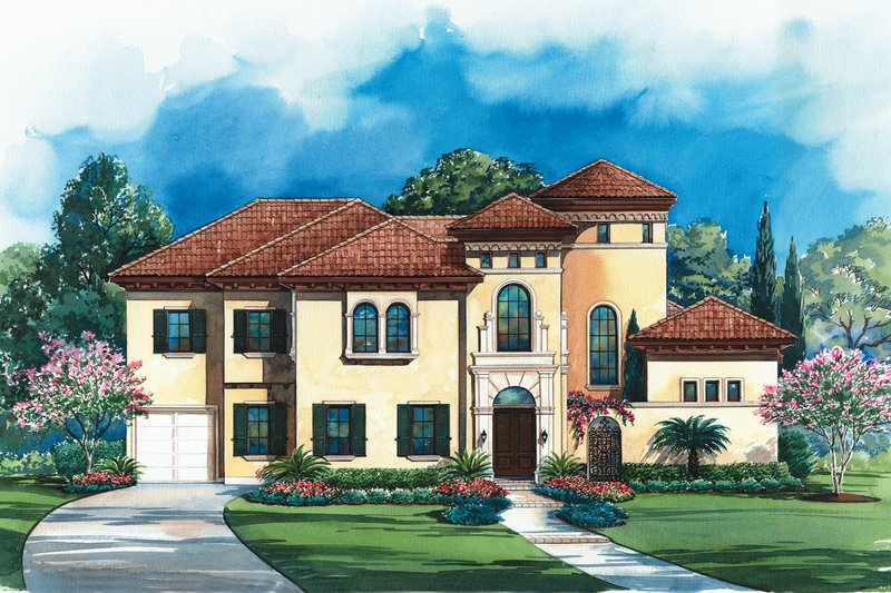 Mediterranean Style House Plan - 4 Beds 5 Baths 5203 Sq/Ft Plan #20-1732 Exterior - Front Elevation