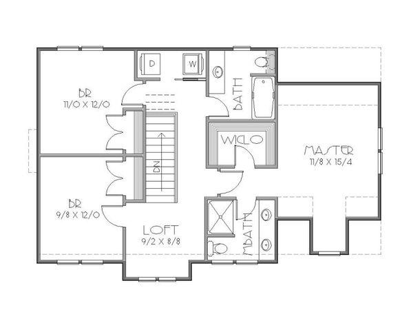 European Floor Plan - Upper Floor Plan Plan #423-36