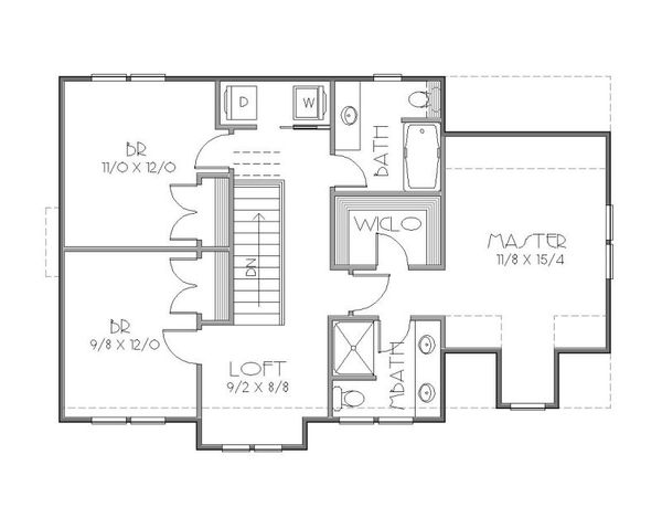 European Floor Plan - Upper Floor Plan #423-36
