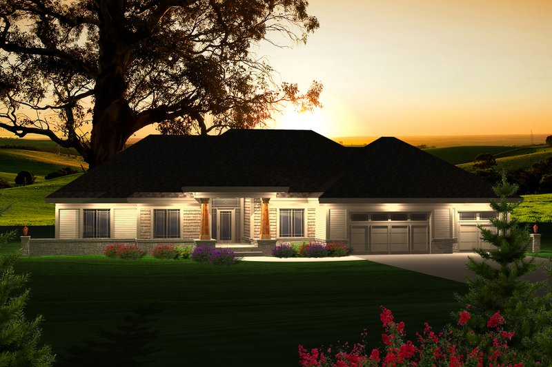 Ranch Exterior - Front Elevation Plan #70-1121