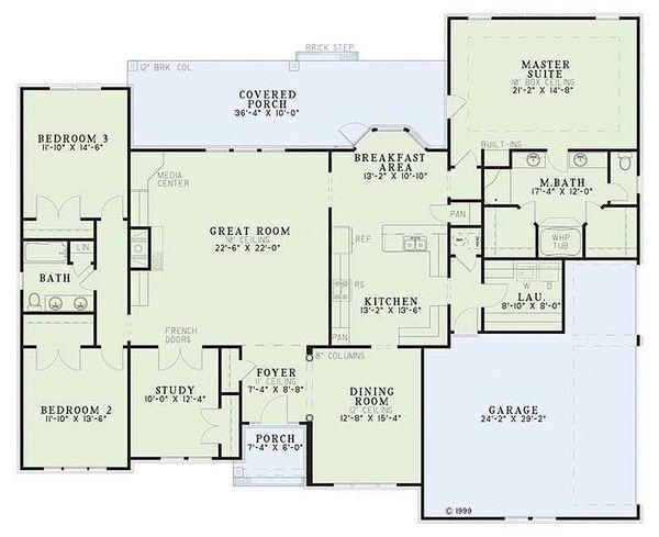 European Floor Plan - Main Floor Plan Plan #17-1038