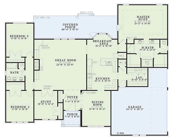 European Floor Plan - Main Floor Plan Plan #17-1038
