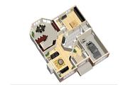 European Style House Plan - 1 Beds 1 Baths 1274 Sq/Ft Plan #25-4656