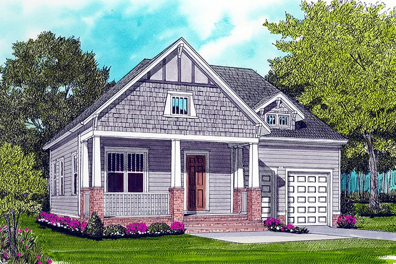 Craftsman Style House Plan - 3 Beds 2 Baths 1728 Sq/Ft Plan #413-788 Exterior - Front Elevation