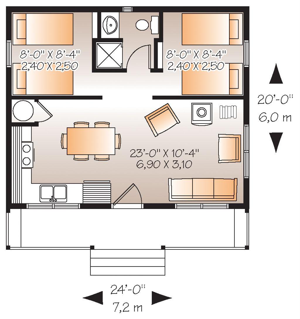 Cabin Style House Plan 2 Beds 1 Baths 480 SqFt Plan 232290 – 20 X 20 House Floor Plans