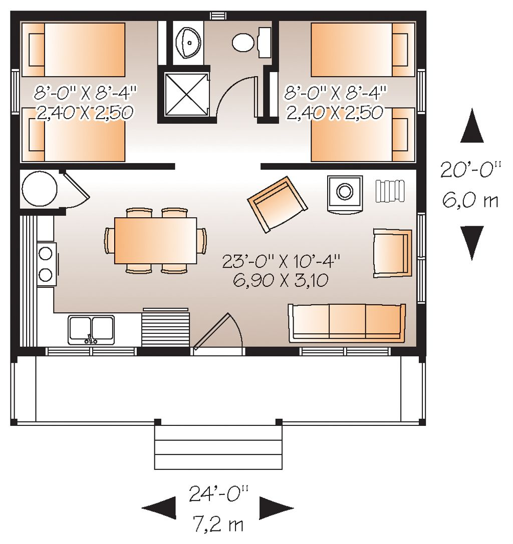 Cabin Style House Plan 2 Beds 1 Baths 480 Sq Ft Plan 23 2290 Eplans Com