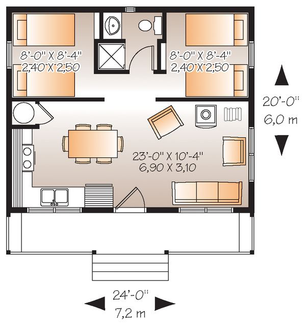 Cabin style house plan 2 beds 1 baths 480 sq ft plan 23 for Dream home source canada