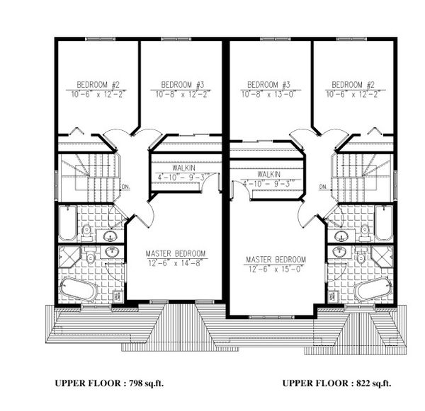 Traditional Floor Plan - Upper Floor Plan #138-348