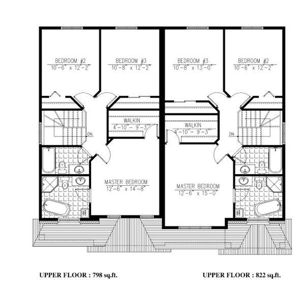 Traditional Floor Plan - Upper Floor Plan #138-348