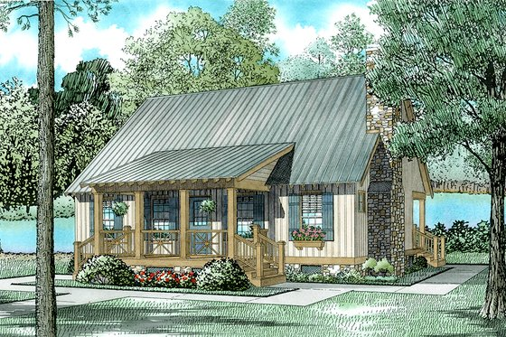 Cottage Exterior - Front Elevation Plan #17-2018