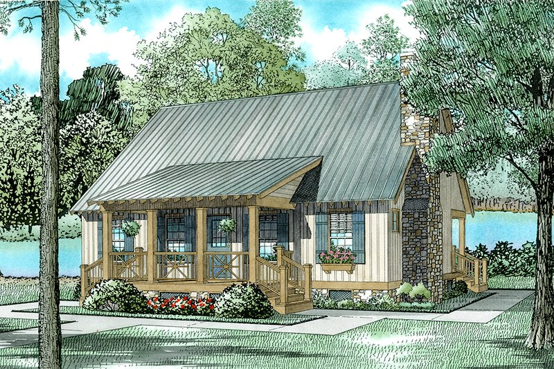 Cottage Style House Plan - 3 Beds 2 Baths 1374 Sq/Ft Plan #17-2018 Exterior - Front Elevation