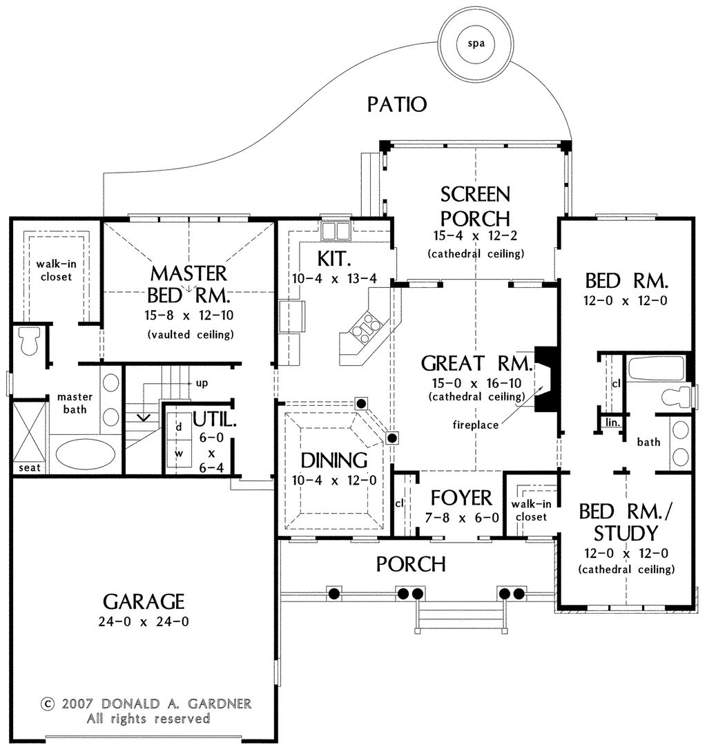 Country style house plan 3 beds 2 baths 1668 sq ft plan for 10 foot ceiling house plans