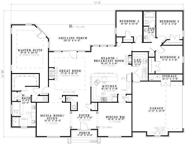 European Floor Plan - Main Floor Plan Plan #17-1180