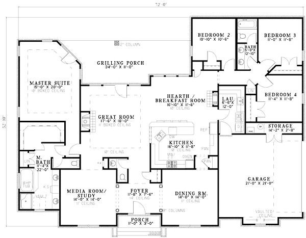European Floor Plan - Main Floor Plan #17-1180