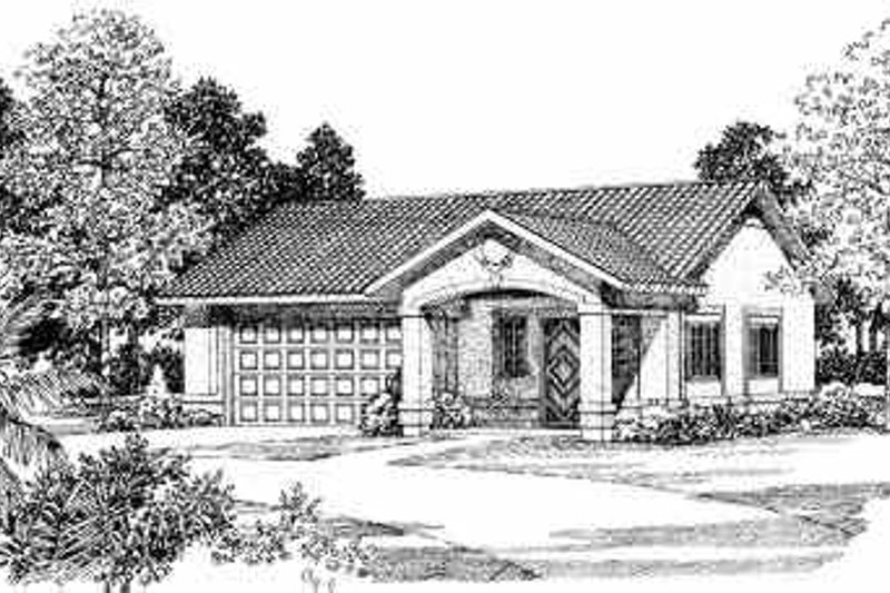 House Blueprint - Mediterranean Exterior - Front Elevation Plan #72-257