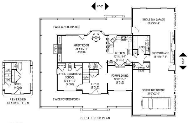 Country Floor Plan - Main Floor Plan Plan #11-220