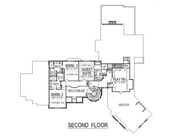 European Style House Plan - 4 Beds 6 Baths 9032 Sq/Ft Plan #458-2 Floor Plan - Upper Floor Plan