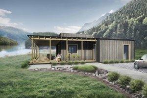 Cabin Exterior - Front Elevation Plan #924-2