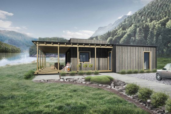 House Design - Cabin Exterior - Front Elevation Plan #924-2