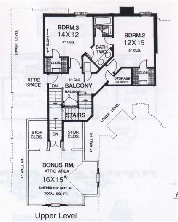 Traditional Floor Plan - Upper Floor Plan Plan #310-833