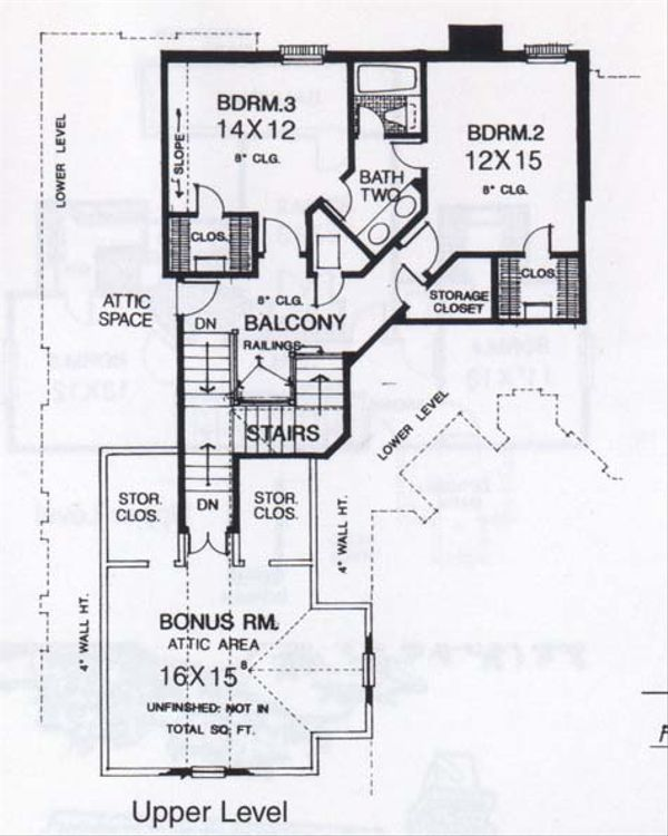 Traditional Floor Plan - Upper Floor Plan Plan #310-833