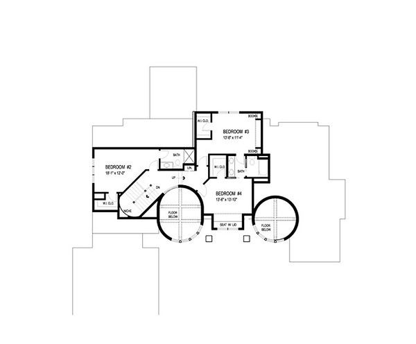 Traditional Floor Plan - Upper Floor Plan Plan #56-595