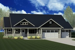 Craftsman Exterior - Front Elevation Plan #920-50